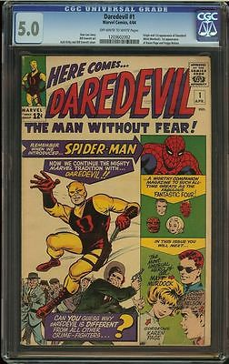 Daredevil 1 CGC 50 Off White to White Pages OWW Slab 1st appearance Silver Age