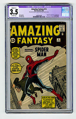 Amazing Fantasy 15 CGC 35 OW Silver Age Grail 1st app SpiderMan Ditko Marvel