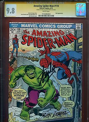 1973 MARVEL THE AMAZING SPIDERMAN HULK 119 CGC 98 WHITE PAGES LEE ROMITA SIGNED