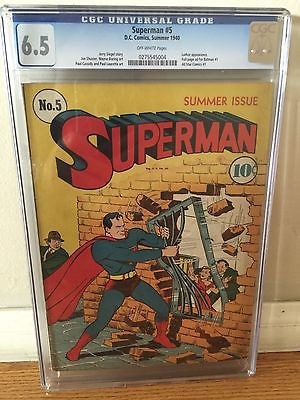 RARE ORIGINAL 1940 GOLDEN AGE SUPERMAN 5 CGC 65 UNRESTORED LUTHOR APPEARANCE