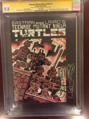 Teenage Mutant Ninja Turtles 1 CGC SS 98 TMNT 2nd Printing White Pages