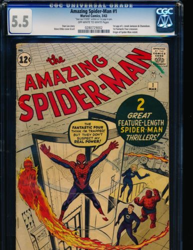 Amazing SpiderMan  1  Stan Lee signature 1st page CGC 55 OWWHITE Pgs