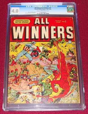 All Winners Comics 7 CGC 40 1942 WW2 Japanese Captain America Schomburg Timely