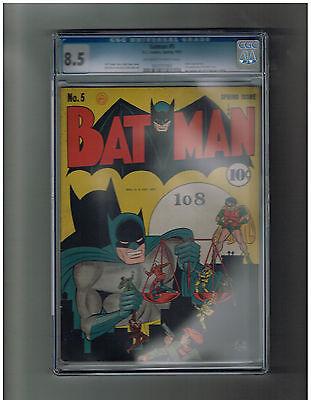 BATMAN v1 5 Gold Age 1941 CGC Grade 85 No Batinsigna cover costume