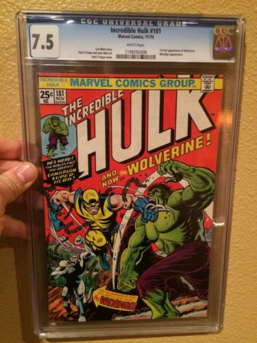 INCREDIBLE HULK 181 CGC 75 WHITE PAGES  1ST FULL APPEARANCE OF WOLVERINE