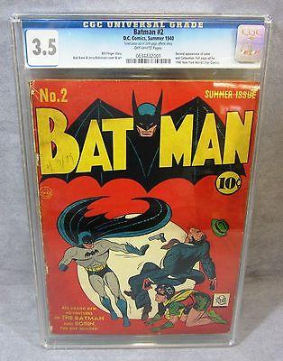 BATMAN 2 Joker  Catwoman 2nd appearanc Golden Age 1940 DC Comics CGC 35 VG