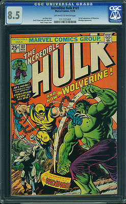 Incredible Hulk  181 CGC 85  OWWH Pages 1st Full Wolverine