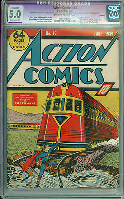 Action Comics 13 CGC 50 VGF OWW EP DC 1939 4th Superman Cover SCARCE
