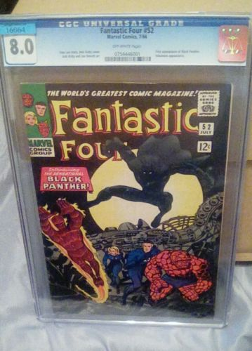 Fantastic Four 52 CGC 80 Offwhite  Pages 1st Appearance Black Panthe Avengers