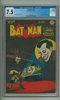 Batman 37 CGC 75 OWW pages Joker cover and story DC Comics 1946 c06975