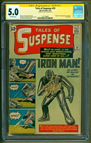 Tales of Suspense 39 1963 Marvel 1st app Iron Man SIGNED Stan Lee SS CGC 50