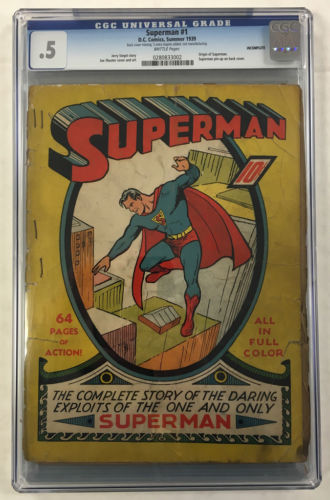 CGC 05 SUPERMAN 1 GOLDEN AGE 1939 ORIGINAL CERTIFIED DC COMIC BOOK
