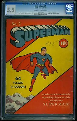 Superman 2 CGC 55 OWW Gold DC Key Comic Early Superman Appearance Top Copy LK
