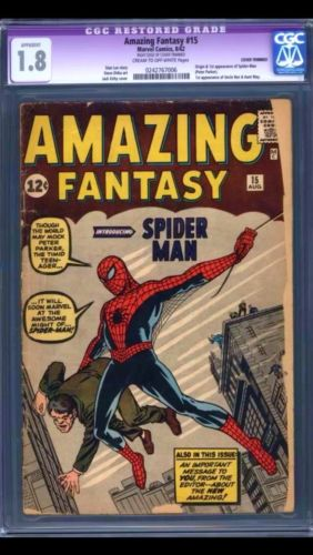 Amazing Fantasy 15 CGC 18 Restored Grade 1st Spiderman CreamOW Pages
