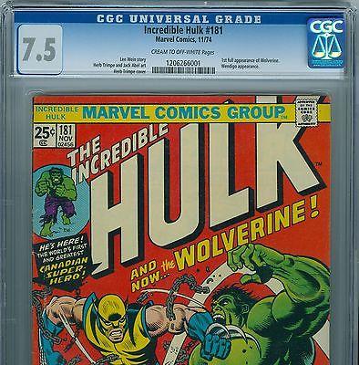 The Incredible Hulk 181 1974 CGC 75  Universal Blue Label  1st WOLVERINE