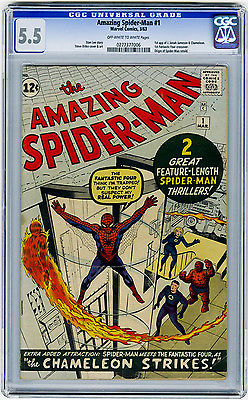 Amazing SpiderMan 1 CGC 55 OWW KEY 1st Jameson FF XOver Origin Marvel