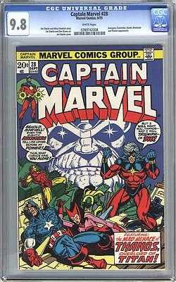 Captain Marvel 28 Sep 1973 Marvel CGC 98 NM white pages Thanos Starlin