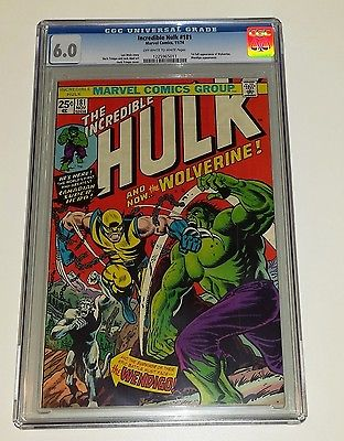 Incredible Hulk 181  1st full appearance of WOLVERINE 1974  CGC 60 NICE