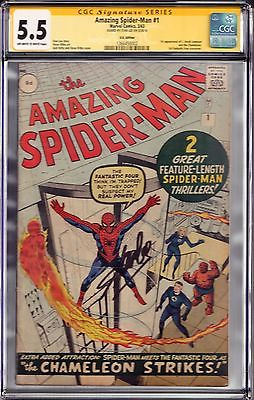 AMAZING SPIDERMAN 1 031963 Marvel OWW CGC 55 SS STAN LEE UK Edition