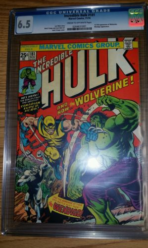 Incredible Hulk 181 CGC 65 1st Wolverine Nov 1974 Marvel UNPRESSED NOT CBCS OW