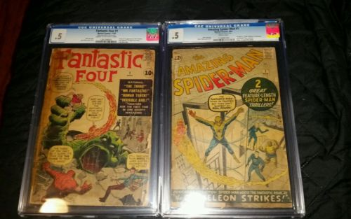 Amazing spiderman 1 cgc 05 and Fantastic four 1 cgc 05 marvel silver age key