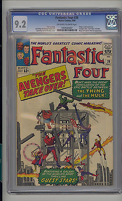 Fantastic Four 26 CGC 92 NM Unrestored Thing vs Hulk Avengers app OWW Pages