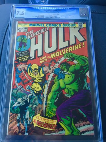 Incredible Hulk 181 CGC 75 OWW Pages  1st App Wolverine  NO RESERVE