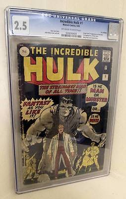 MARVEL Comics HULK  1 1962 25 CGC 1ST app man  avengers incredible