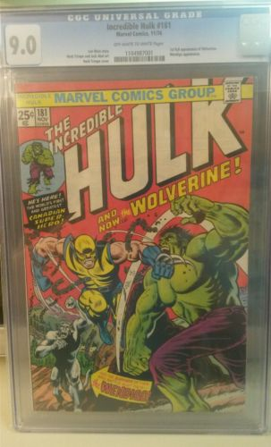 The Incredible Hulk 181 CGC graded 90 OWWhite pages 1st full Wolverine app