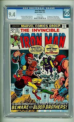 IRON MAN 55 CGC 94 FIRST THANOS WHITE PAGES 1973