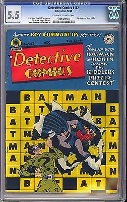 Detective Comics 142 Nice 2nd App The Riddler Batman DC 1948 CGC 55