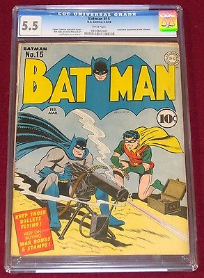 Batman 15 CGC 55 W 1943 Classic WWII Machine Gun Cover Catwoman Bright Colors