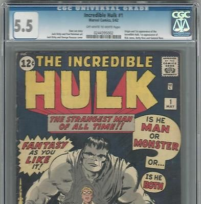 PRIMO  Incredible HULK 1 FN 55 CGC OWW  UNRESTORED Kirby Lee Marvel comic