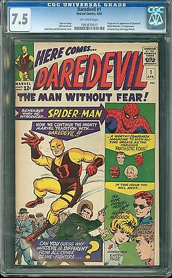 Daredevil 1 cgc 75 netflix HOT 1963 OW pages cbcs pgx