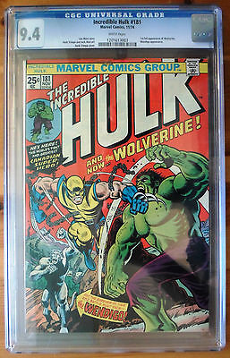The Incredible Hulk 181  1st Full App of Wolverine CGC 94  WHITE PAGES