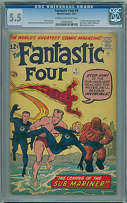 Fantastic Four  4 CGC 55 FN 1st Silver Age SubMariner Appearance KIRBY LEE