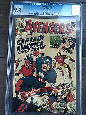 Avengers  4 CGC 94 1st Silver Age app of Captain America NO RESERVE LK
