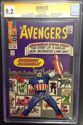 1965 Avengers Assemble 16 Signed By Stan Lee CGC 92 SS Captain America Movie