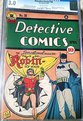 DC Detective Comics 38 CGC 30 1st app of Robin OffWhite pages UltraRARE