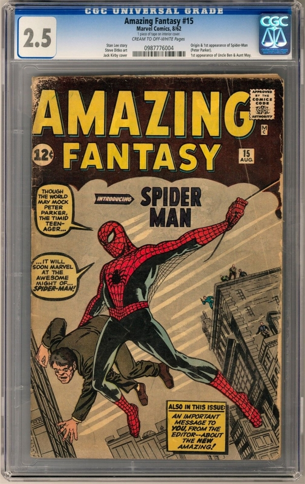 Amazing Fantasy 15 CGC 25 COW Origin and 1st Appearance of SpiderMan
