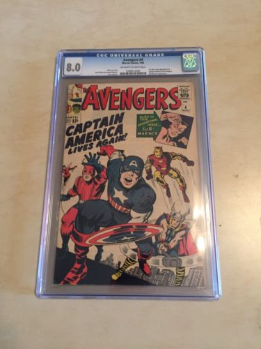 AVENGERS 4  CGC 80  FIRST CAPTAIN AMERICA  CLASSIC KEY