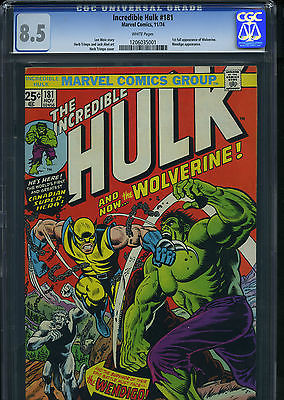 INCREDIBLE HULK 181 CGC 85 VF  WHITE PAGES 1ST WOLVERINE