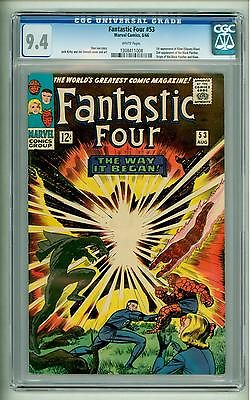 FANTASTIC FOUR 53 CGC 94 WHITE PAGES 2ND BLACK PANTHER ORIGIN FIRST KLAW