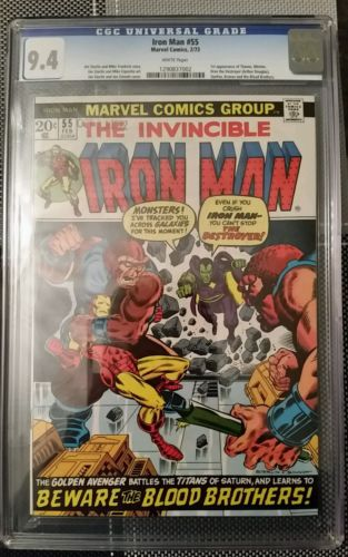 Iron Man 55 Marvel 1973 CGC NM 94 White pages First appearances of Thanos