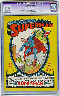Superman 1 CGC 75 MEGA KEY Iconic Cover Origin Shuster Siegel DC Golden Age