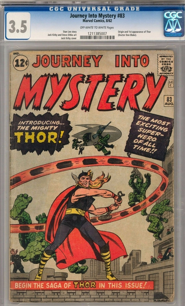 Journey Into Mystery 83 CGC 35 OWW Origin  1st Appearance of Thor