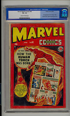 Marvel Mystery 92 CGC 65 FN Origin of Human Torch Captain America CROW Pages