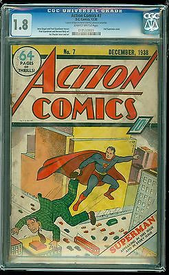 Action Comics 7  CGC Graded 18  2nd Ever Cover Appearance of Superman