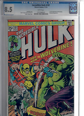 The Incredible Hulk 181 FIRST APPEARANCE OF WOLVERINE CGC Graded 85 White Page