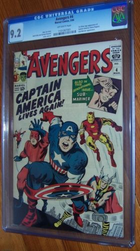Avengers 4 CGC 92  Marvel 1964  1st SA CAPTAIN AMERICA  Hot   Key